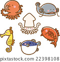 海洋生物 一组 矢量 22398108