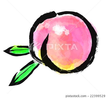 Brush painted vegetables fruit peach 22399529