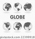 Vector Illustration of gray globe icons with 22399918