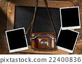 Old Camera with Empty Photos and Blackboard 22400836