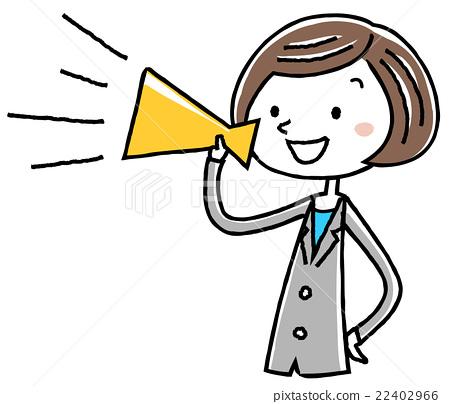 插图素材:商务女性适合女性的扩音器 22402966