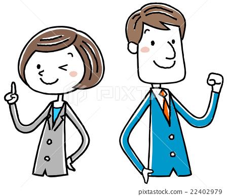 Illustration material: Female man posing business suit 22402979