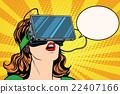 Retro girl with glasses virtual reality 22407166