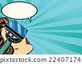 Retro girl with glasses virtual reality 22407174
