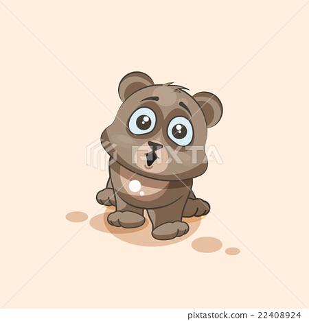 isolated Emoji character cartoon Bear surprised 22408924