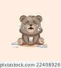 isolated Emoji character cartoon Bear crying, lot 22408926