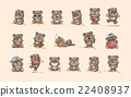 isolated Emoji character cartoon Bear stickers 22408937