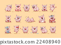 isolated Emoji character cartoon Pig stickers 22408940