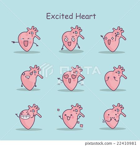 Excited cartoon heart set 22410981