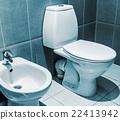 white ceramic toilet in tiled bathroom 22413942