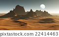3D Fantasy desert landscape with crater 22414463