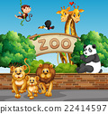 Scene with wild animals at the zoo 22414597