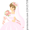 穿着婚纱,一束新娘·没有背景 22415739