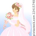 穿着婚纱,带着花束/背景的新娘 22415740