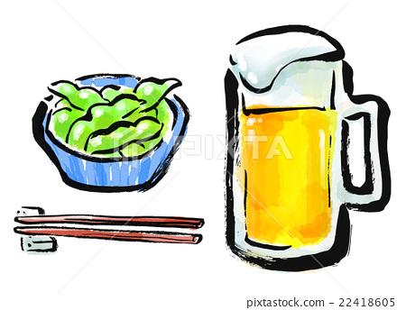 붓 그리기 식품 맥주 안주 22418605