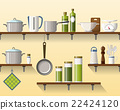 Kitchen shelving with tableware, seamless 22424120