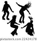Silhouette of teenagers, jumping on roller skates 22424178