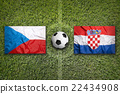 Czech Republic vs. Croatia flags on soccer field 22434908