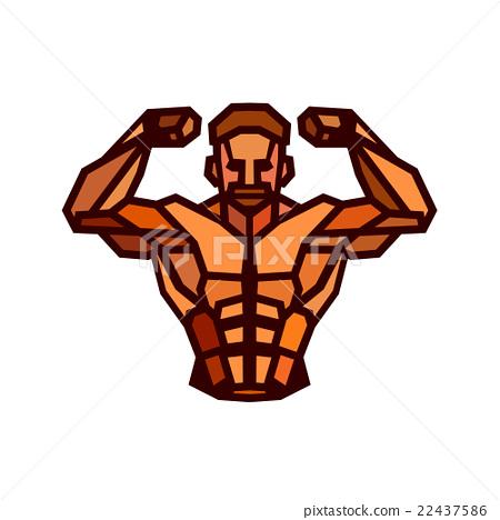 Polygonal colored vector bodybuilder logo.  22437586