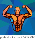 Polygonal colored vector bodybuilder logo.  22437592