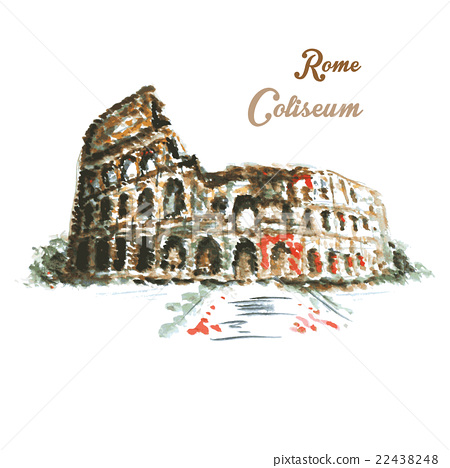 Colosseum, hand drawing watercolor style 22438248