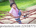 Little asian boy climbing rope obstacle activity 22438773