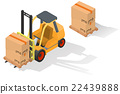 Isometric forklift truck with box 22439888