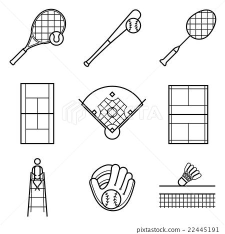 Tennis, Baseball & badminton line Illustration set 22445191