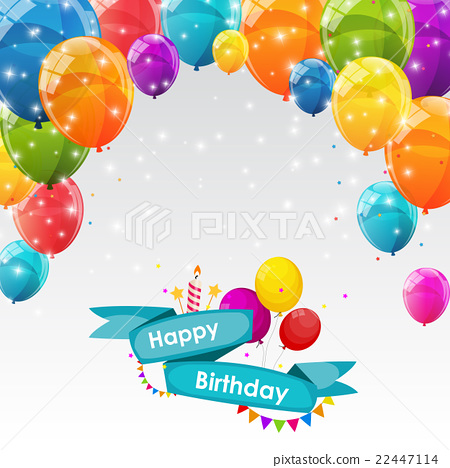 Happy Birthday Card Template With Balloons Vector - Stock