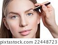 Woman correcting eyebrows form 22448723
