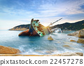 shipwreck or wrecked cargo ship abandoned 22457278