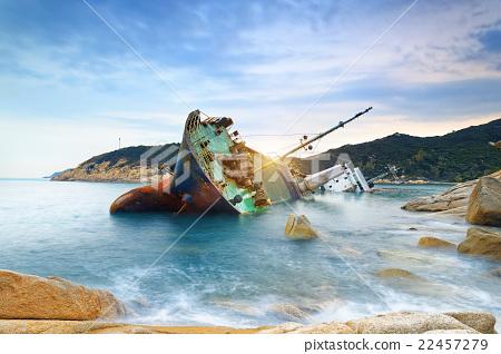 shipwreck or wrecked cargo ship abandoned 22457279