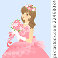 Bride's illustration wedding dress (pink) with background 22458034
