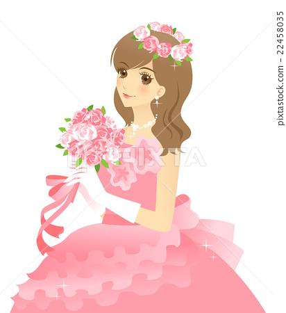 新娘的例证婚礼礼服(桃红色)背景透明 22458035