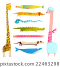 Fun Cartoon Long Animals Illustration Collection 22463298