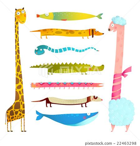 Fun Cartoon Long Animals Illustration Collection 22463298