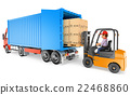 3D Worker driving a forklift loading a container  22468860