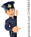 3D Policeman pointing aside. Blank space 22468863