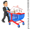 3D Businessman pushing a shopping cart with house 22468869