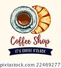 커피, 크로와상, 식품 22469277