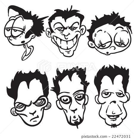 simple black and white bunch of cartoon faces 22472031