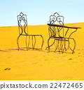table and seat in desert  sahara morocco  22472465