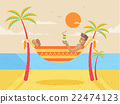 illustration of happy sunny summer day at beach 22474123