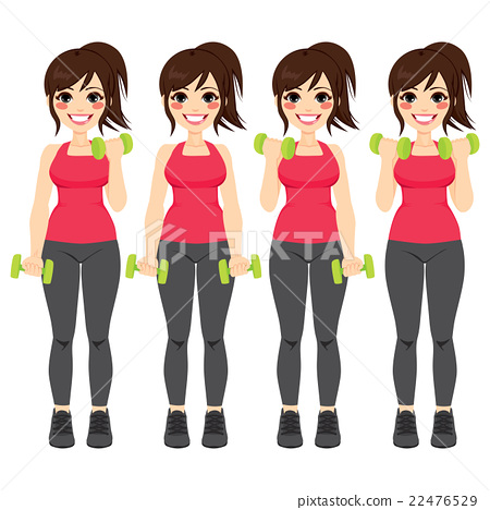 Dumbbell Exercises Set Woman 22476529