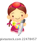 The Girl Mascot with a sign pen is writing.  22478457