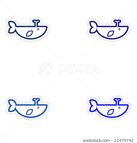 Set paper stickers on white background whale with 22479742