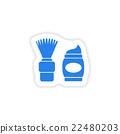 stylish paper sticker on white background shaving 22480203