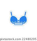 stylish paper sticker on white background 22480205