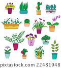 Cute hand drawn vector flowers in the pots. 22481948