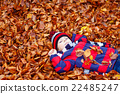 Cute little kid boy on autumn leaves background in 22485247
